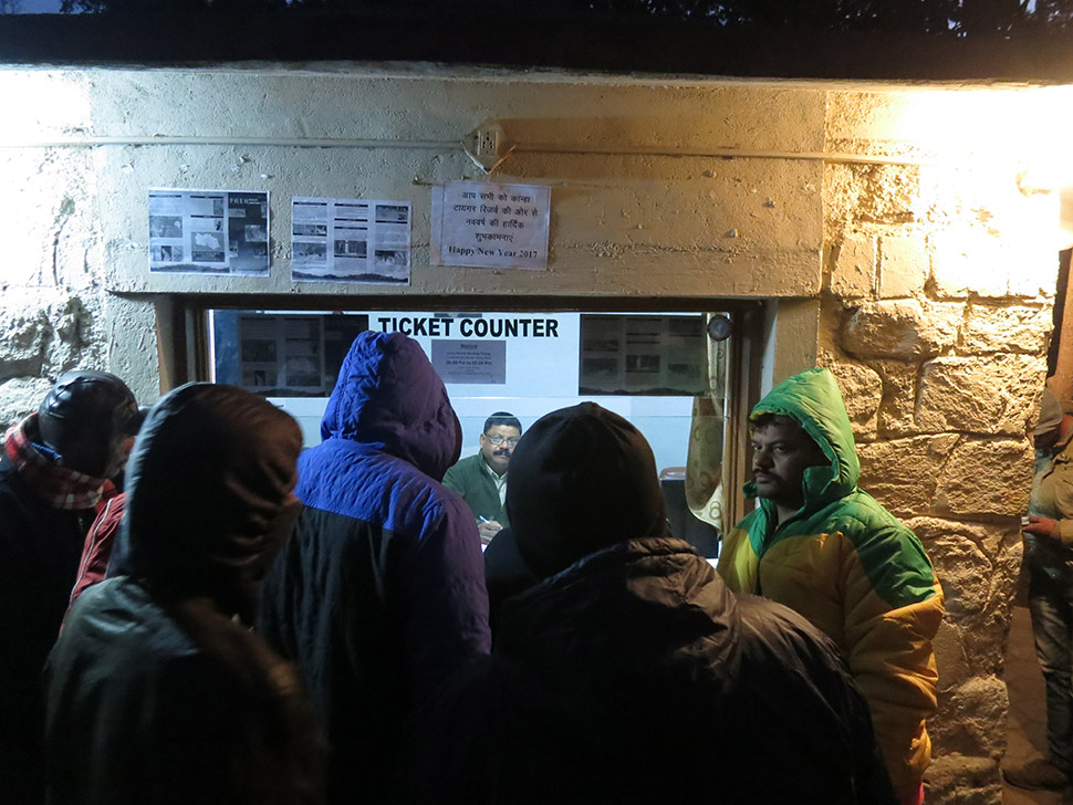 No one lives in the Kanha Tiger Reserve, but it is not deserted.  In the predawn chill, visitors line up to register for a half-day drive-through safari, in hopes of seeing wildlife.