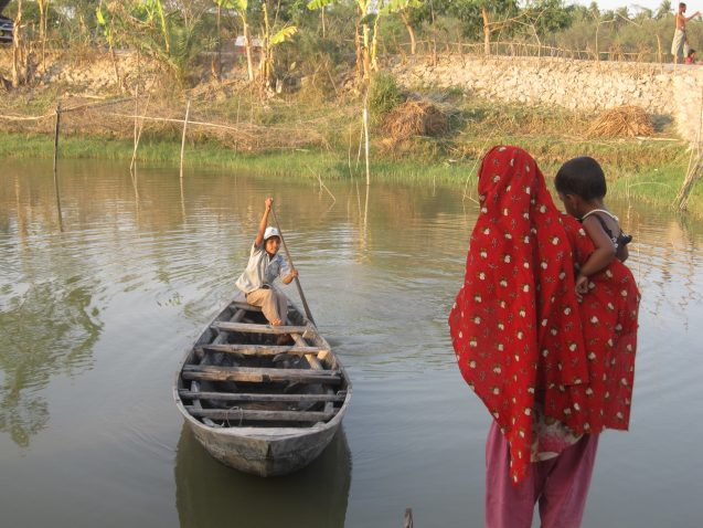 A new report predicts a surge of climate-related litigation in developing countries. Here, a farm family navigates high tide near their home in southern Bangladesh, where rising seas are invading land. (Kevin Krajick/Earth Institute)