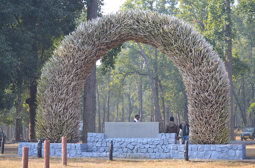 Countless deer antlers form an arch at the visitors' center. Forest dwellers used to collect them to sell for traditional medicines and other uses, but now they are off-limits.