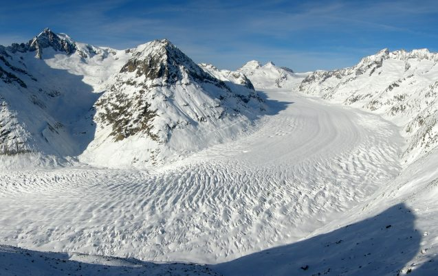 The Aletsch Glacier is the largest glacier in the Swiss Alps.