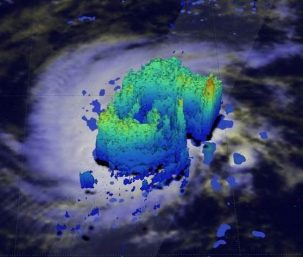 Hurricane Pali precipitation levels as captured by NASA/JAXA GPM Core Observatory satellite, showing the forming of an eye on Jan. 11, 2016.