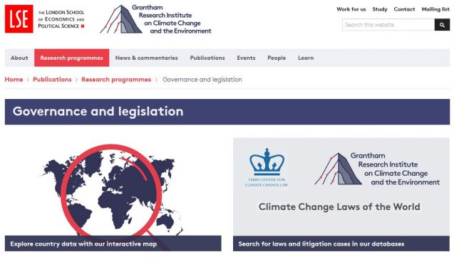 climate law database site snip