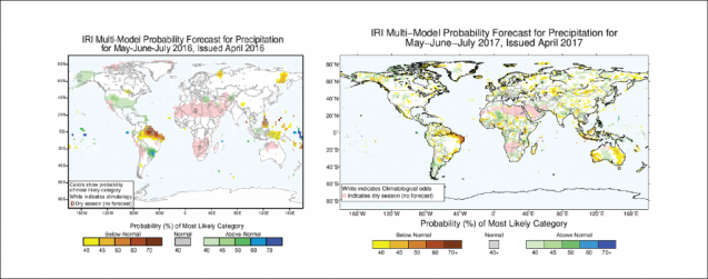 Side-by-side comparison of IRI's old (left) and new (right) seasonal climate forecast for precipitation. Note that the forecasts do not show the same time period.