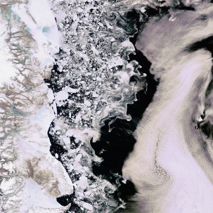 Marginal zone of the Greenland sea from a satellite.