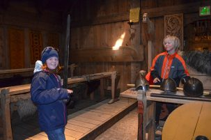 At the Borg Viking Museum, visitors can try out chain mail, helmets and weapons modeled by modern craftsmen.