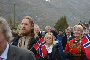 The Vikings never really left the Lofotens; their descendants people the landscape. Residents of the village of Sorvagen march in the yearly May 17 parade, marking Norway's declaration of independence from Sweden and Denmark in 1814.