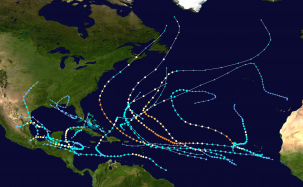 The 2010 Atlantic hurricane season map