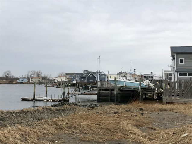 Vulnerable homes and docks along the shore in Broad Channel, Queens