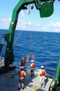 Post Doc Researcher Gwenn Hennon and colleagues pulling samples from the depths of the North Pacific