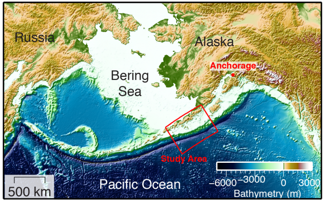 The discovery was made near the end of the Alaska Peninsula. A tsunami from here could reach many land areas across the Pacific. (Anne Becel)