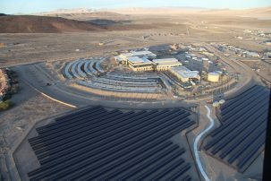 Construction of the new Fort Irwin Weed Army Community Hospital at Fort Irwin, California. The solar array will provide power and hot water.