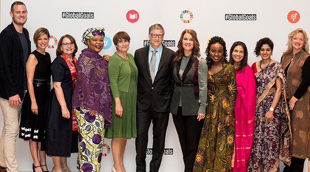 bill and melinda gates with goalkeepers