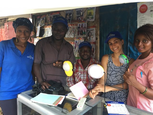 Nthabi Mosia (SIPA ' 16), chief financial and marketing officer at Easy Solar (left), and Anika Bahra (MPA-DP '18), visited Easy Solar's point-of-sale agents across Sierra Leone to find out their challenges and aspirations.