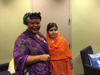 Leymah Gbowee, executive director of the Women, Peace and Security Program at Columbia University, and Malala Yousafzai, co-founder of the Malala Fund. The two Nobel Peace Laureates spoke backstage at the Gates Goalkeepers conference about the power of women and girls to create global change.