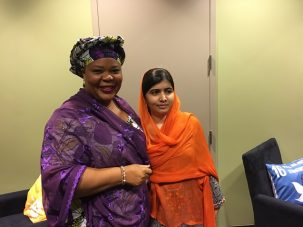 Leymah Gbowee and Malala Yousafzai, co-founder of the Malala Fund. The two Nobel Peace Laureates spoke backstage at the Gates Goalkeepers conference about the power of women and girls to create global change.