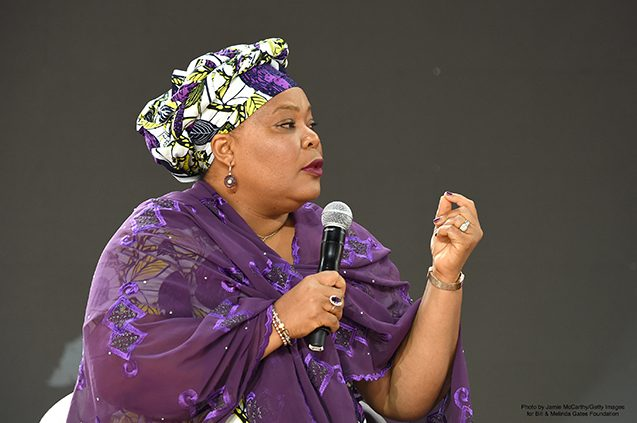 Leymah Gbowee, executive director of the Women, Peace and Security Program at Columbia University, speaks onstage at the Gates Goalkeepers event. | Photo by Jamie McCarthy/Getty Images for Bill & Melinda Gates Foundation