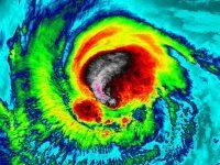 Satellite view of temperatures inside Hurricane Irma