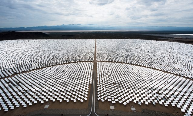 Google is part owner of Ivanpah in Nipton,CA, the world's largest solar power plant. Photo: Dennis Schroeder/NREL