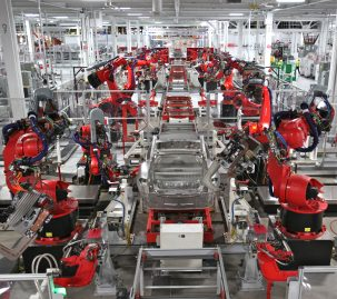 Tesla factory for electric vehicles. Photo: Steve Jurvetson