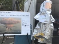 volcano heat suit and sign about eruptions