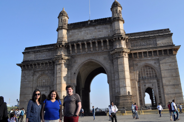 Chia-Ying Lee, Suzana Camargo, & Kyle Mandli in front of the Gateway of India