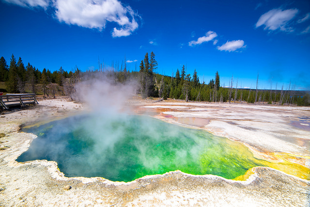 yellowstone caldera in blue, green, and yellow