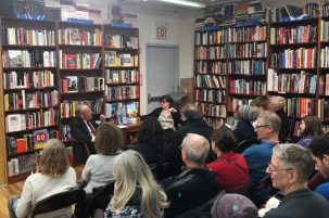 Cohen and Fuchs speaking about The Sustainable City, at Book Culture. (Photo: DeFrancia)