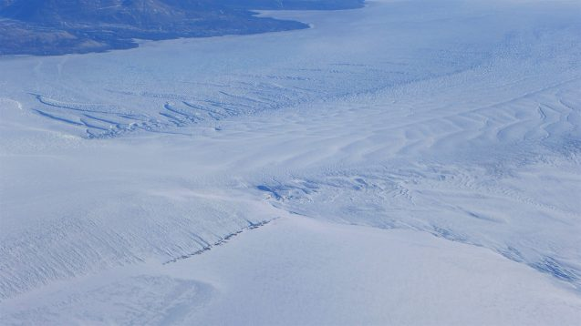 Several different types of crevassing are visible in this image including transverse crevasses, as ice flow from different areas collides. photo M. Wearing