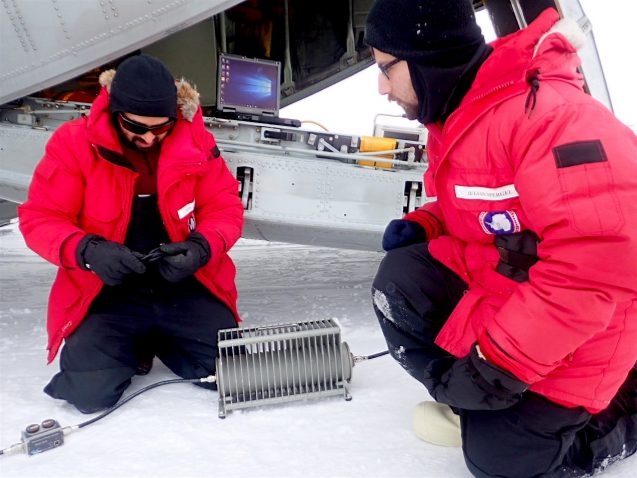 Helping Tej to calibrate the IcePod on the C130 aircraft.