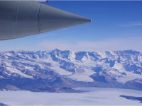 Flying past the Trans-Antarctic Mountains that line the East side of the Ross Shelf. Photo credit: Susan Howard