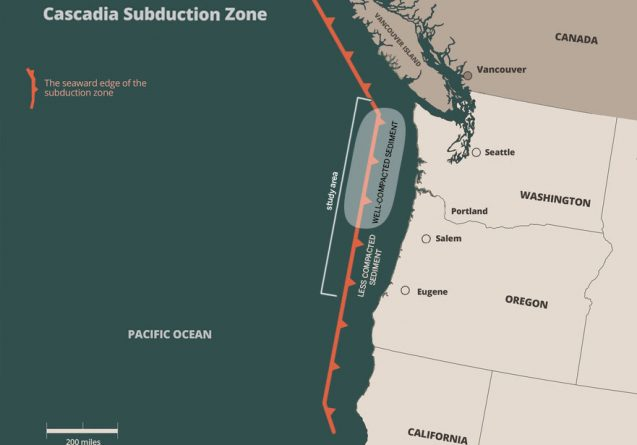 Researchers have discovered a region of highly compacted sediments that could increase earthquake and tsunami danger off Washington and northern Oregon. (Courtesy University of Texas Institute for Geophysics