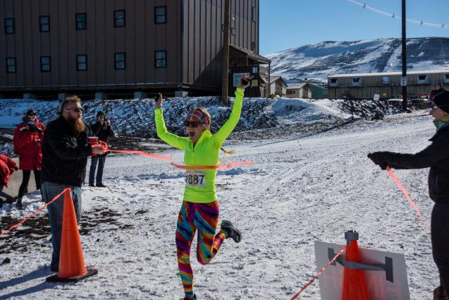 Chloe Gustafson won 1st place in the Antarctic Turkey Trot and holds the honor of being the first woman to win the race!