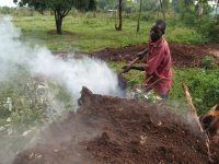 Agricultural fires like this one in Kenya are one source of air pollution in Africa.