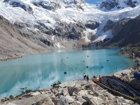 glaciers and lake in Peru