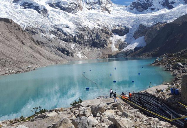glaciers and lake in Peru