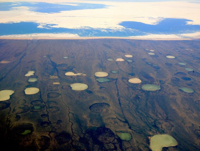 thawing permafrost forms ponds in canada
