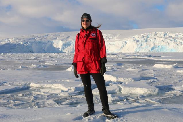 Emmalina Glinskis in antarctica