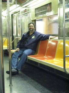 Thomas Abdallah on the NYC subway.