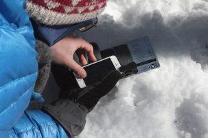 taking photos of snowflakes