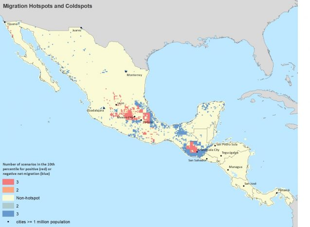 Map of Hotspots of climate-induced in-migration (red) and out-migration (blue) in Mexico and Central America
