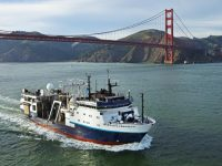 R/V Langseth ship passing under Golden Gate bridge