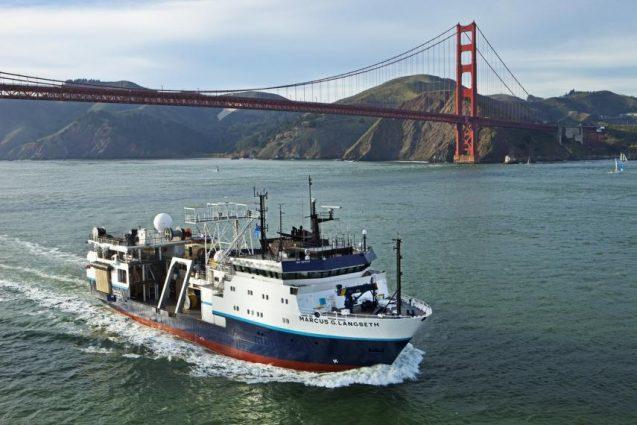 R/V Langseth ship passing under Golden Gate bridge