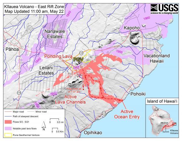 map of kilauea lava flows