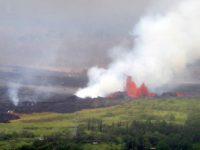 kilauea lava fountain and steam
