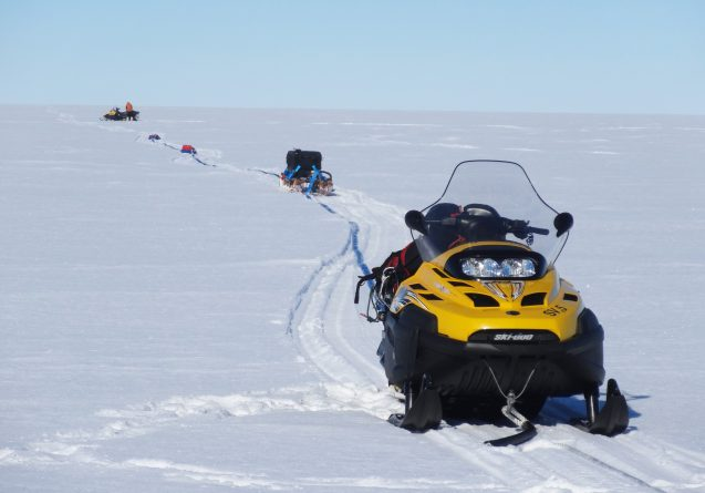 snowmobile drags radar across West Antarctic Ice Sheet