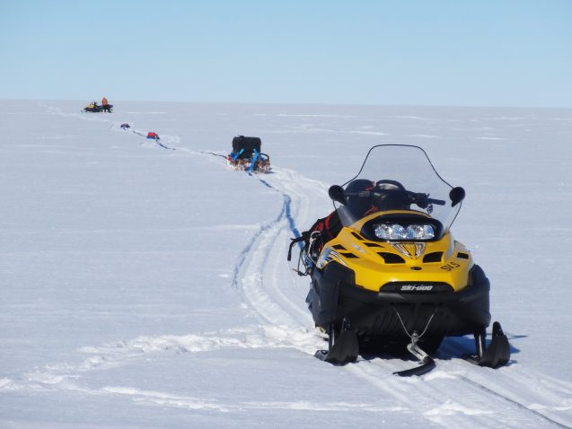 snowmobile drags radar across West Antarctic Ice Sheet