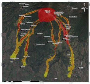 Map of areas at risk from lahars (deadly mudslides) around the Volcán de Fuego