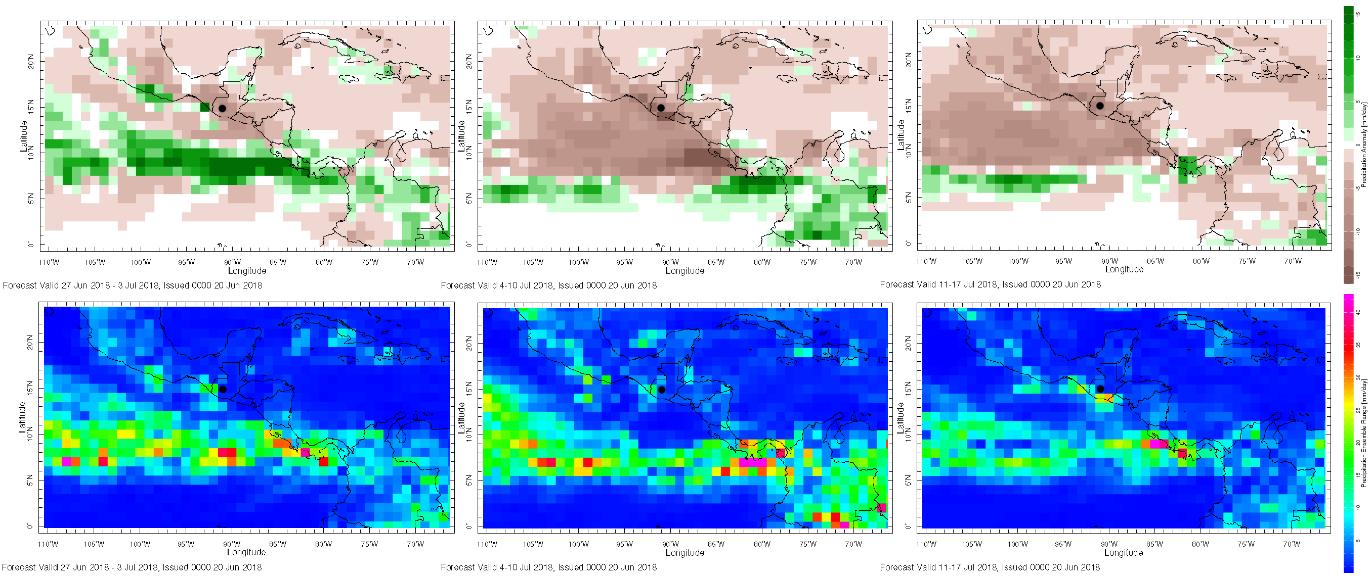 maps of rainfall predictions across Guatemala