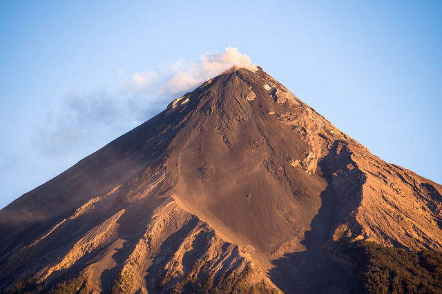 Volcán de Fuego with smoke coming out the top