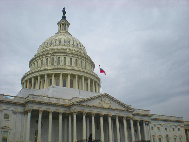u.s. capitol building with flag democracy